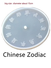 Chinese Zodiac Pattern Cement Clock Making Mold Craft Clay Silicone