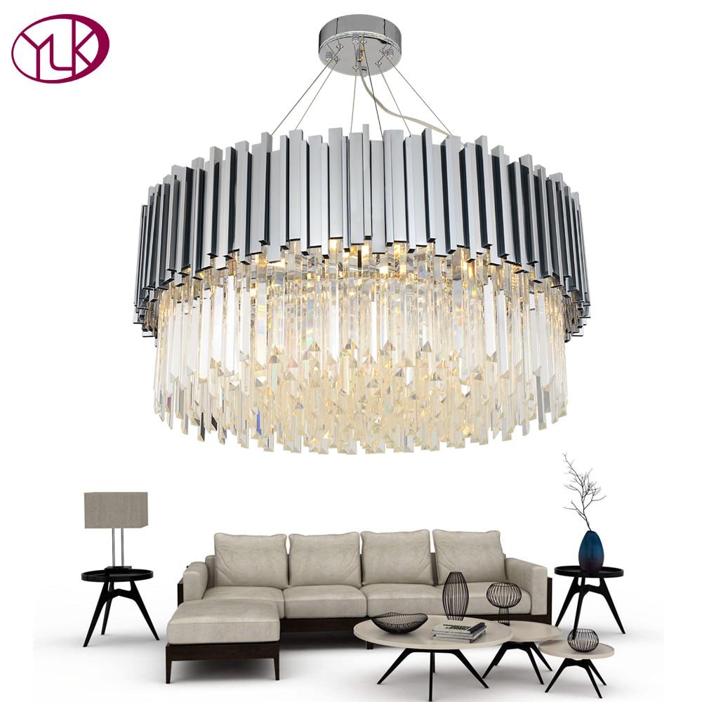Youlaike New Modern Chandelier Lighting Chrome Polished Steel Crystal Lamp Luxury Round Living Dining Room LED Cristal Lustre chrome round crystal chandelier