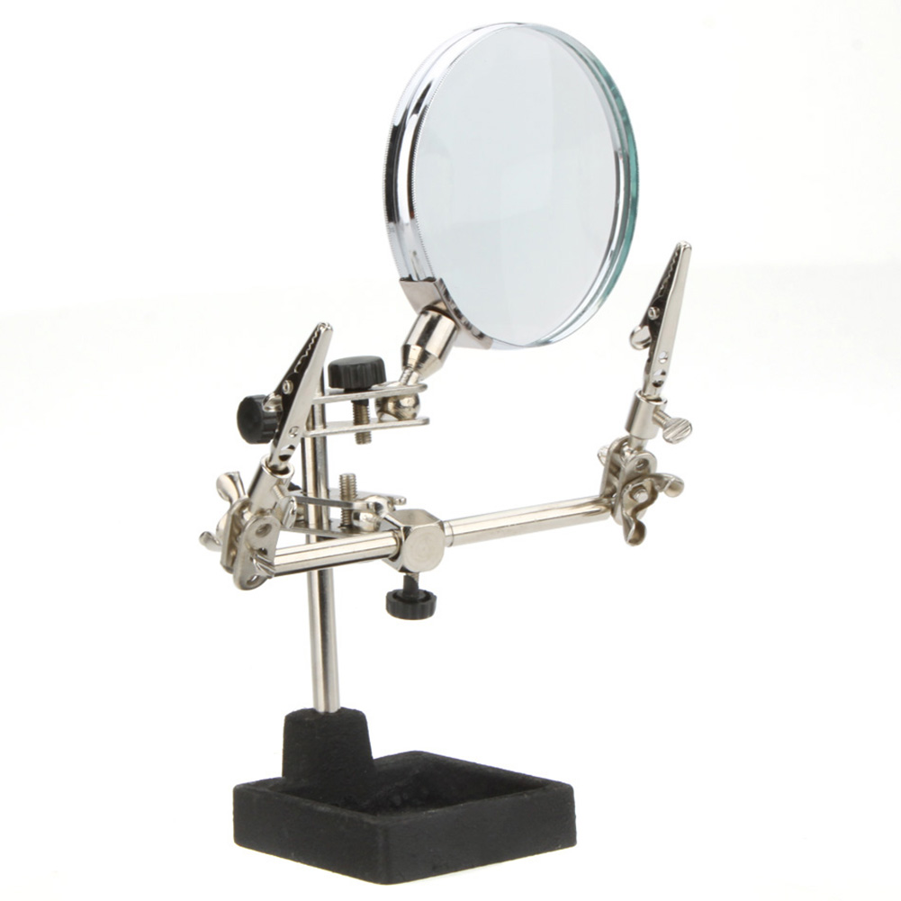 ФОТО Double Spring Tin Rack 4X Third-hand Magnifiers Tool Adjustable joints With A useful tool for soldering Glass Magnifying