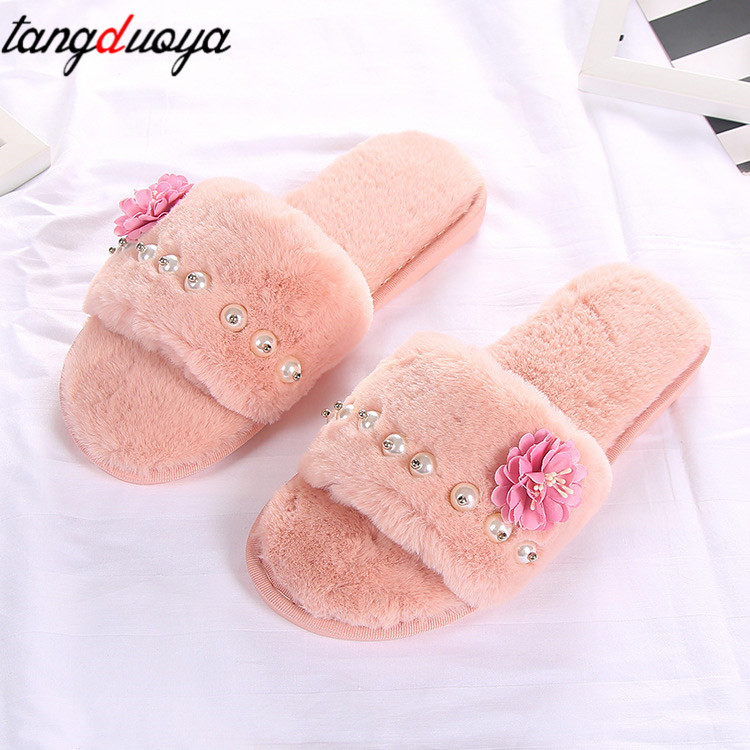 flower slippers for woman shoes spring flat women shoes pearl slippers home women indoor shoes plush chanclas de mujerflower slippers for woman shoes spring flat women shoes pearl slippers home women indoor shoes plush chanclas de mujer