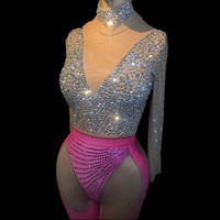 Women's Sexy Bodysuit Costume Stage Outfit Singer Dancer Performance Rompers DJ Nightclub Stretch Sparkly Rhinestones Jumpsuit