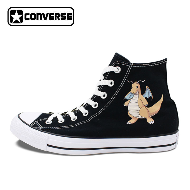 Converse Chuck Taylor Skateboarding Shoes Men Women Pokemon Dragonite Anime Canvas Sneakers White Black 2 Colors anime converse all star skateboarding shoes boys girls pokemon snorlax white black canvas sneakers design 2 colors