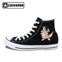 Converse Chuck Taylor Skateboarding Shoes Men Women Pokemon Dragonite Anime Canvas Sneakers White Black 2 Colors