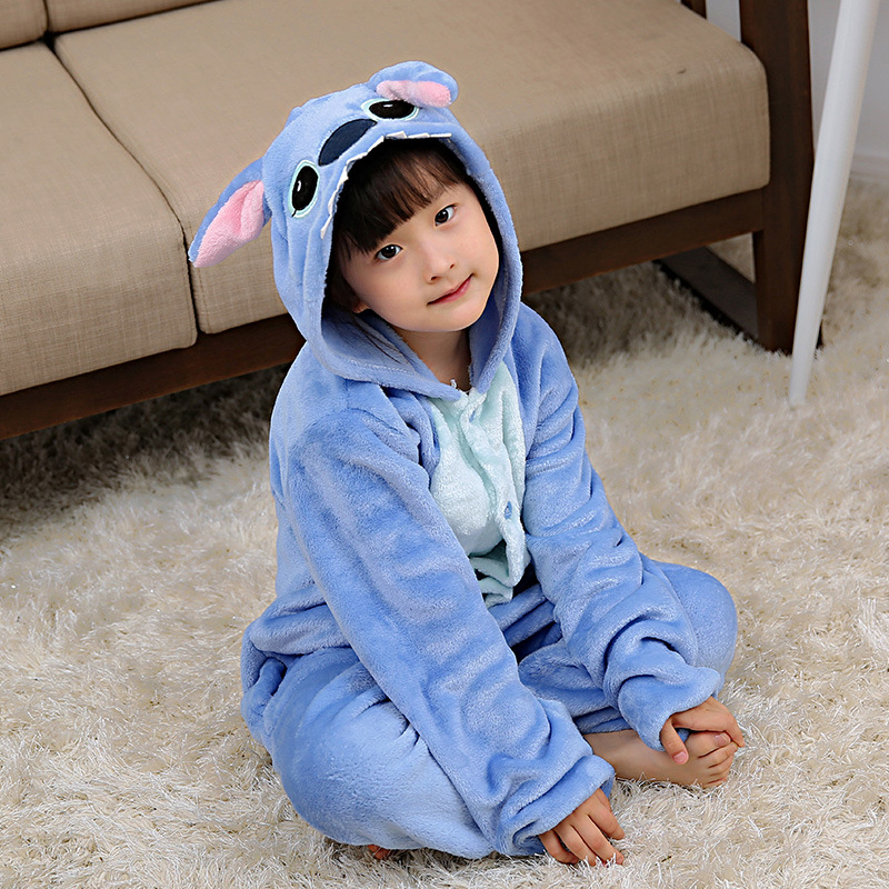 Flannel Winter Girls Children Pajamas Set Boy Onesie Kids Pajama Animal Cartoon Stitch Pink Hooded Cosplay Christmas Sleepwear цена