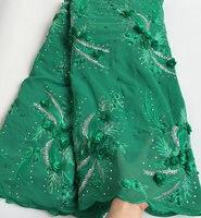 Milieu transparent vert émeraude Africain lacet Suisse de voile d'origine en mousseline de soie tissu avec grand pierres Appliques perles l'utilisation Saine