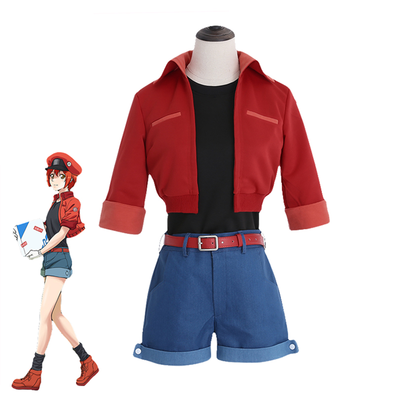 Anime Hataraku Saibou Cosplay Costumes Erythrocytes Cosplay Full Set Cells At Work Cosplay Women Costume with Hat Custom Made