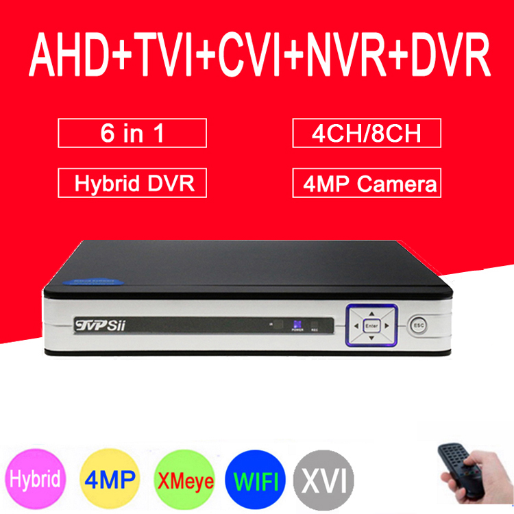 Silver XMeye Hi3531A H264+ 4MP 4CH/8CH 6 in 1 Hybrid Coaxial TVi CVI NVR AHD CCTV DVR Surveillance Video Recoder FreeshippingSilver XMeye Hi3531A H264+ 4MP 4CH/8CH 6 in 1 Hybrid Coaxial TVi CVI NVR AHD CCTV DVR Surveillance Video Recoder Freeshipping