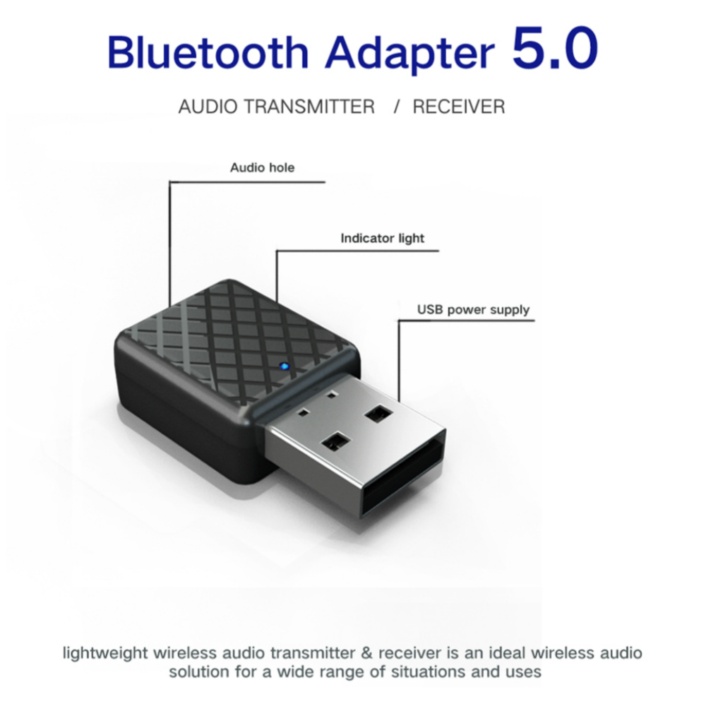 Bluetooth 5 0 Transmitter Receiver 3 5mm Stereo Audio Sound Music Dongle  Adapter For TV PC Headphones Speakers