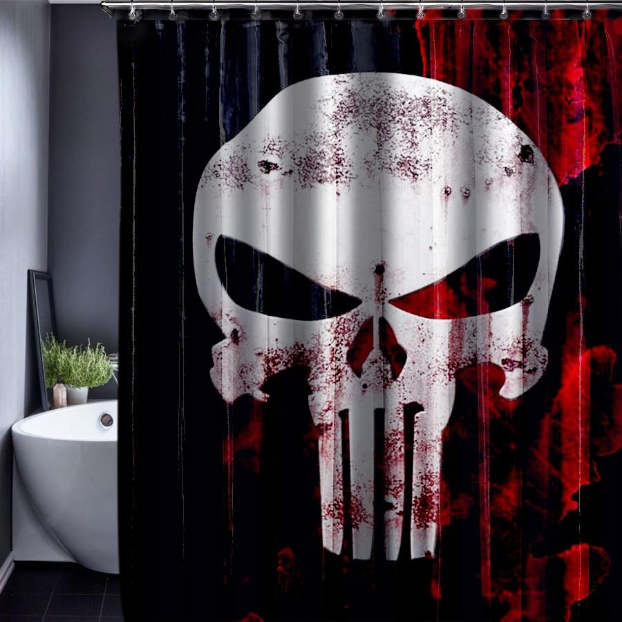 Skull Customized Shower Curtain Bathroom Waterproof Bathroom Fabric 150x180cm Shower Curtain