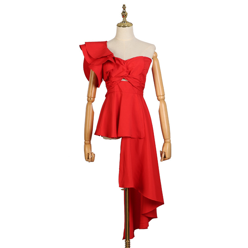 fashion 2019 new red pleated irregularwomen blouse sleeveless bow tie summer party ladies blouse chic black white bluse shirts