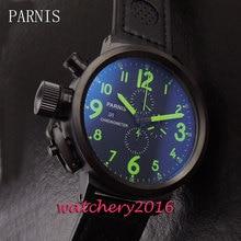 50mm Parnis Big Face black dial lefy Mechanical PVD case mineral crystal full chronograph Quartz Movement Men's Wristwatches