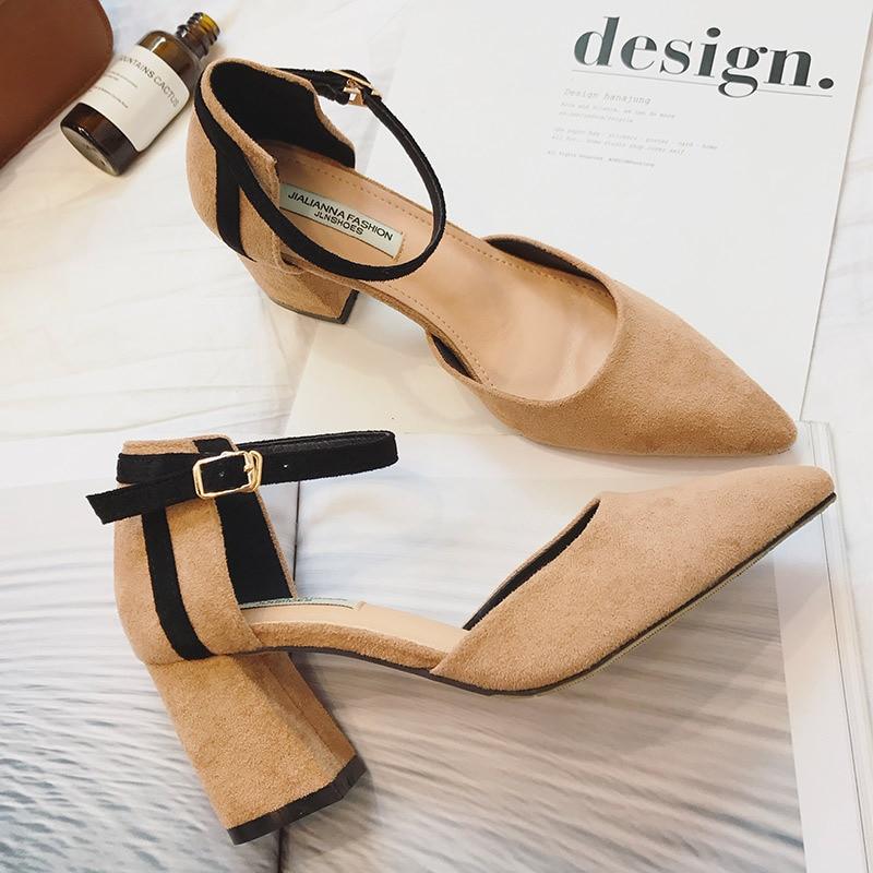 2017 New Women Pumps Brand Designer High Heels Square Heel ...