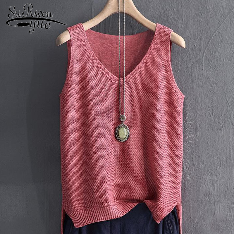 blusas mujer de moda 2019 sleeveless summer women   blouse     shirt   solid v collar knitted   blouse   womens tops and   blouses   2652 50