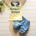 New 2016 baby boys summer removable denim lapel clothes suit kids letter t shirt jean shorts suit children leisure clothing sets