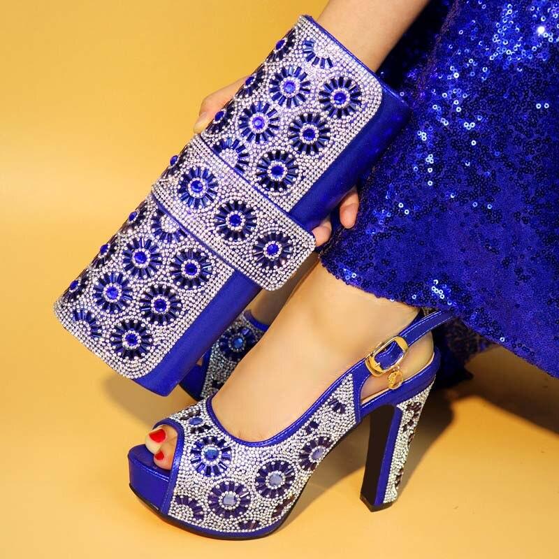 V1070 Avec Main Pompes Grand Cristal red royal Black gold La silver Blue Offre Sac Or Ensemble Africaine À 421 Femmes Pour Match Spéciale Chaussures Robe PnOkw08