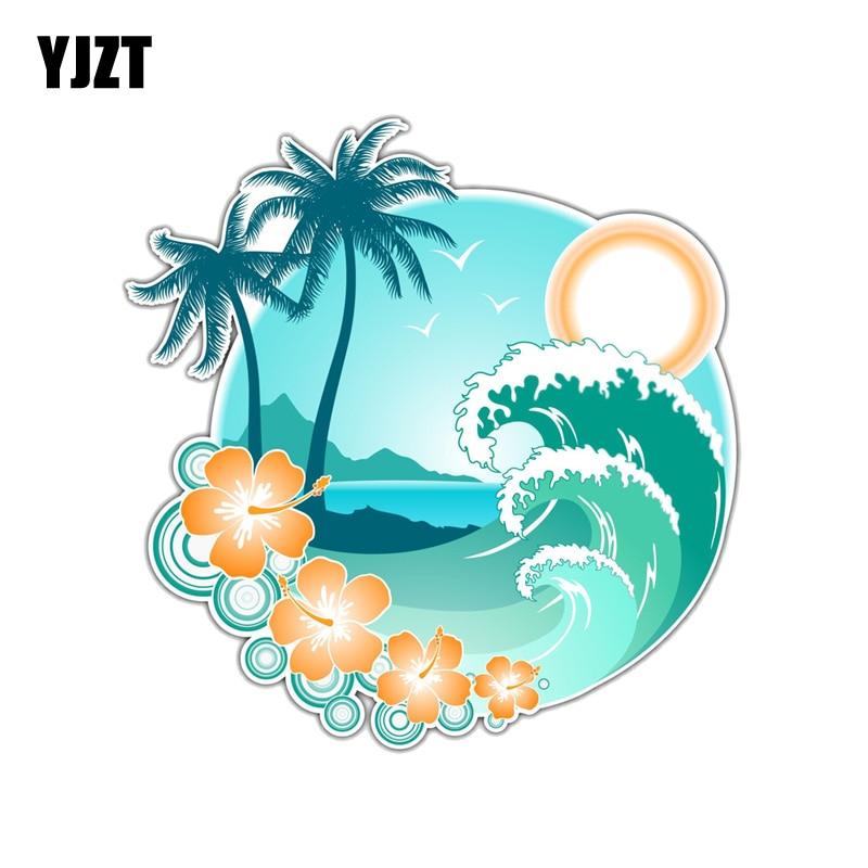 YJZT  13.1CM*12.7CM Interesting Tropical Islands Hawaii  PVC Motorcycle Car Sticker 11-00389