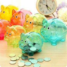 Kawaii Cartoon Pig Shaped Piggy Bank holder in a pack Transparent Plastic Money Saving Box Case Coins 1 pcs(China)
