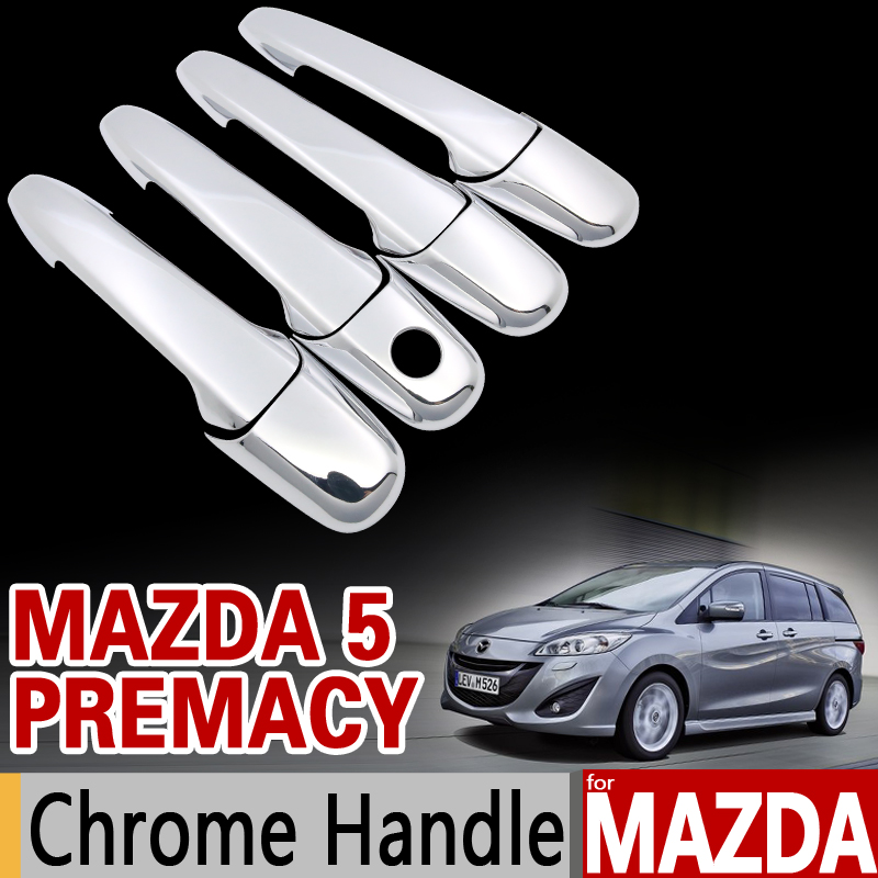 for Mazda 5 Premacy 2004-2017 Chrome Handle Cover Trim Set 2005 2007 2011 2012 2015 2016 Car Accessories Stickers Car Styling for suzuki splash 2007 2014 chrome handle cover trim set of 4door 2008 2009 2010 2011 2012 2013 accessories sticker car styling
