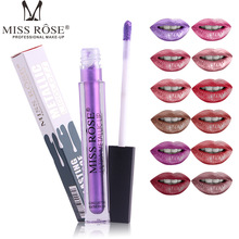 MISS ROSE 12 color Metallic lip gloss thin tube matte not easy to stick cup glaze paint beauty makeup