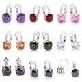 lingmei Wholesale Hot Jewelry Amethyst Garnet Pink Rainbow CZ Morganite Peridot White CZ  Dangle Hook Silver Earrings