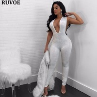2018 New Year Fashion Women Sexy Jumpsuit Deep V Neck Beading Crystal Sleeveless Full Length Sexy Bodysuit Jumpsuit Nude Black