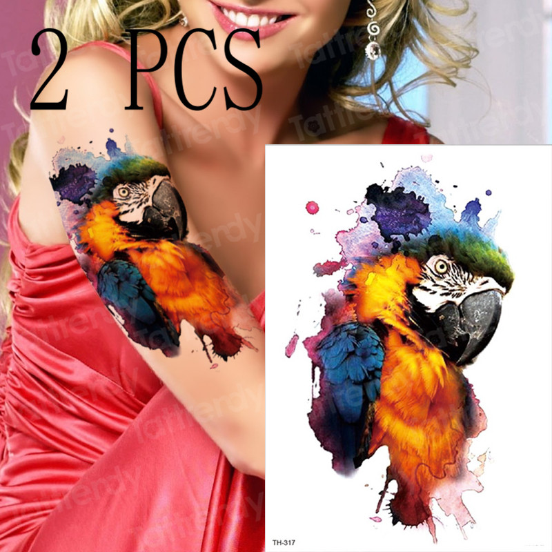 2pcs/set Waterproof Temporary Tattoos Colorful Watercolor Painting Gradient Parrot Cute Girls Arms Body Paint Makeup Party Beach