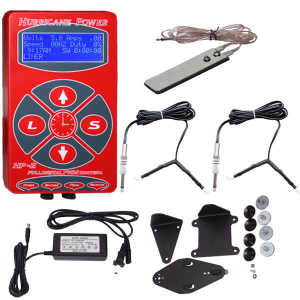 Red Hurricane Power Digital LCD Tattoo Power Supply 2 Clip Cord & Foot Pedal for tattoo machine tattoo gun free shipping besta high quality alloy foot switch pedal tattoo machine gun power supply tattoo footswitch free shipping