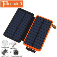 Tollcuudda Solar Charger For Iphone Xiaomi Huawei OPPO Powerbank External Battery 20000mAh Phone Mi Charging Power Bank Supply