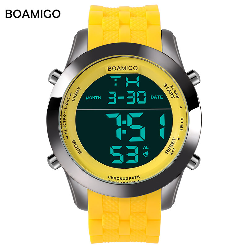 men sports watches men digital watches LED display rubber band watch BOAMIGO brand yellow male clock
