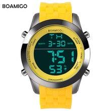 Hommes sport montres hommes numérique montres LED affichage bande de caoutchouc montre BOAMIGO marque jaune mâle horloge 30 M étanche montres
