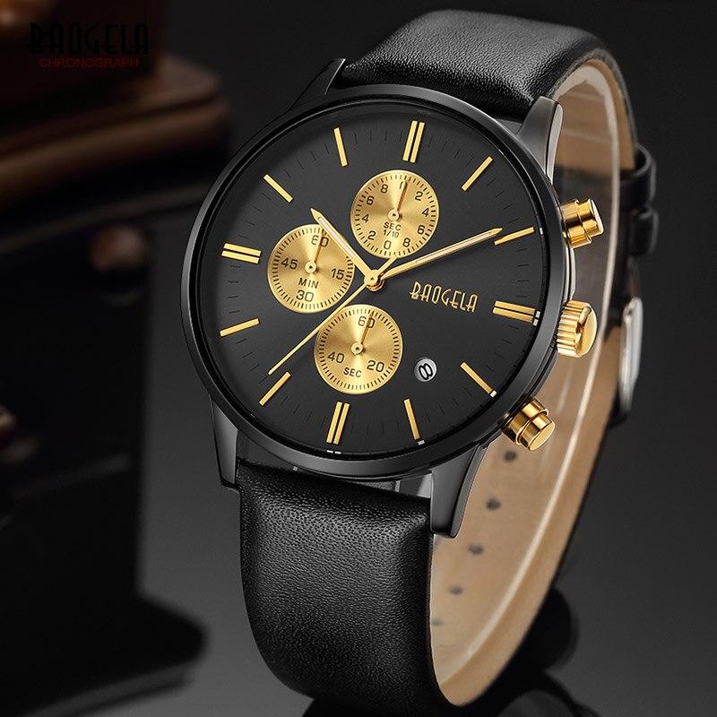 ... Company женщин Bangda Для the em. Купить Baogela новый топ роскошные  часы бренда Для мужчин часы черный кожаный ремешок кварцевые наручные часы  модные ... d57924504d386