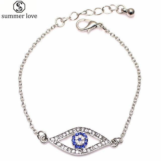 a1c8f909fd41 Turco pulsera de las mujeres con la plata del oro del cristal plateado  Fatima Ojo Azul