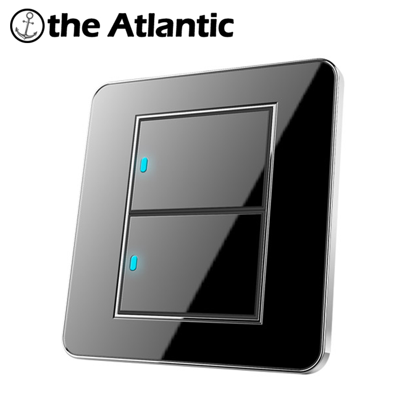 Atlantic Brand New Arrival 2 Gang 2 Way Free Click Push Button Wall Light Switch With LED Indicator Acrylic Crystal Panel button wall light switch 2 gang double control swich acrylic luxury crystal 86 panel led indicator light wall button switch