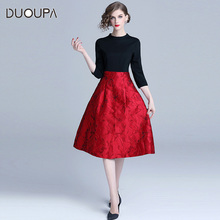 New fashionable jacquard Jacquard Dress in autumn and winter of 2019