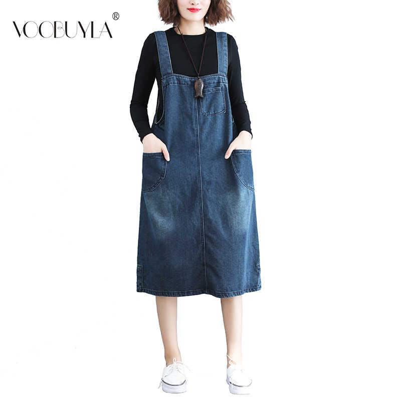 Voobuyla/джинсовое платье с карманами на тонких лямках; летнее свободное джинсовое платье на бретелях; элегантный дизайн; джинсовый сарафан с подтяжками; джинсовое платье-комбинезон