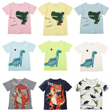New Cartoon Print Baby Boys Dinosaur T Shirt For Summer Infant Kids Boys Girls Car T-shirts Clothes Cotton Toddler Children Tops 2017 new fashion children clothes angry bird t shirts for boys and girls cartoon 100