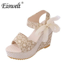Eiswelt 35-40 Summer Casual Sandals Fashion Print Lace Ribbons Women Sandals Wedges Platform High Heel Shoes#EDZW17