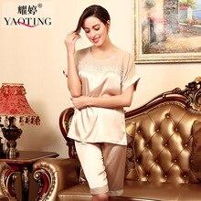 ENGAYI Brand 2 Pcs Pyjama Pajamas Pijamas Sets For Women Sexy Lace Robe Silk Satin Nightgown Nightwear Night Gown TZ030