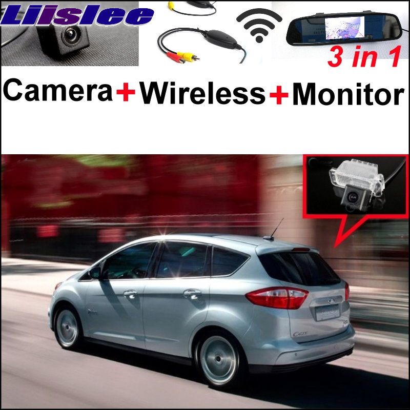 цена на Liislee 3 in1 Special Rear View Camera + Wireless Receiver + Mirror Monitor DIY Parking System For Ford C-Max S-Max 2010~2014