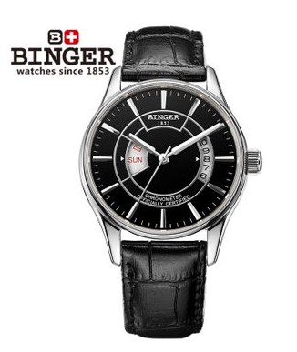 Binger 2017 New Sales Fashion Hollow out business Watch fully automatic mechanical Wrist watches free shipping Black Wristwatch