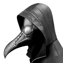 2019 Halloween Gothic Black PU Beak Mask Steampunk Plague Doctor Retro Cool Bird Mouth Mask Masquerade Party Cosplay Props цена и фото