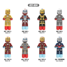 X027-X034 AvengersING Marvel hero compatible LegoINGl iron Man Complete set mark All series child Collection Building Blocks toy цены