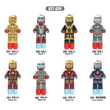 X027-X034 Avengersing Marvel Hero Kompatibel Legoingl Iron Man Set Lengkap Mark Semua Seri Anak Koleksi Blok Bangunan Mainan(China)
