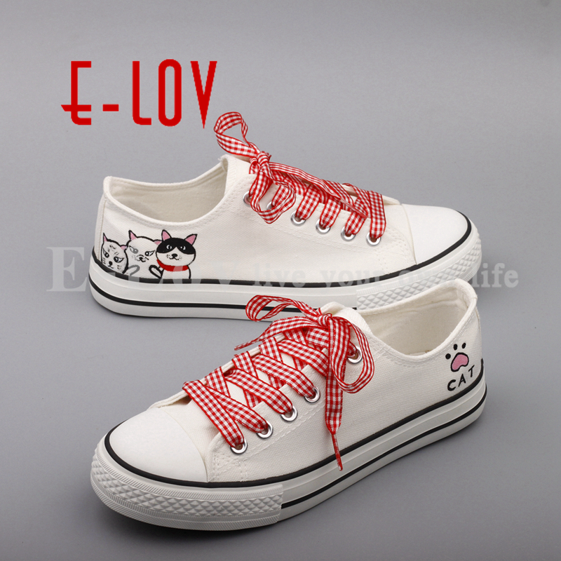 E-LOV Fashion Low Top Casual Canvas Shoes Graffiti Cats Hand Painted Animal Flat Shoes For Women Espadrille e lov women casual walking shoes graffiti aries horoscope canvas shoe low top flat oxford shoes for couples lovers