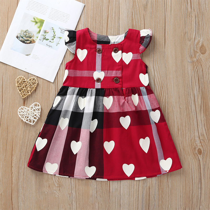 Lottie Style Dress For Girls  / Plaid Cotton Dresses / Sweetheart Dress