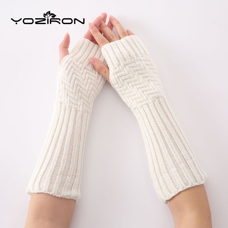 YOZIRON Fashion Women Knit Oblique Stripes Arm Warmers Winter Knitted Long Sleeves Gloves For Women Girls Fingerless Gloves