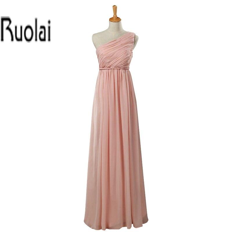 Nouvelle Sexy une épaule plissée longueur de plancher en mousseline de soie rose sur mesure formelle longue robes de demoiselle d'honneur pour la fête de mariage