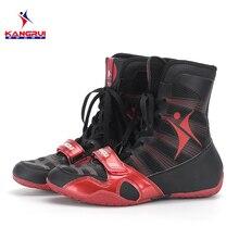 ¡NOVEDAD DE 2017! zapatos de boxeo profesionales en 3 colores, auténticos zapatos de lucha libre para hombres, zapatos tendones de entrenamiento al final, zapatillas de cuero
