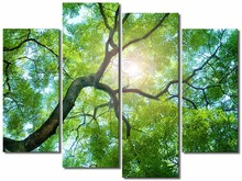 4 Pieces Green trees Picture Painting Wall Art Room Decor Print Poster Wall Pictures for Living Room Canvas Painting Framed canvas painting poster colourful leaf trees 4 piece painting wall art modular pictures for home decor wall art picture painting