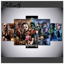FULLCANG Full Square Diamond Embroidery Screaming Cinema 5D Painting Cross Stitch 5PCS Mosaic Needlework D579